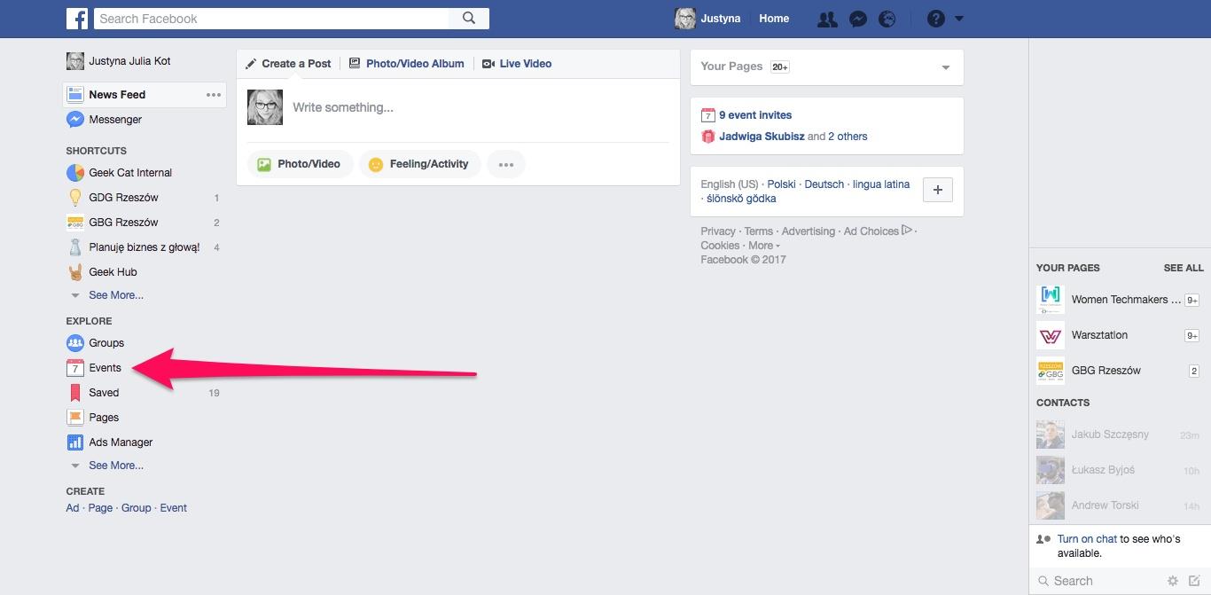 Geek Cat - Jak dodać wydarzenia z Facebooka do kalendarza Google - wydarzenia Facebook