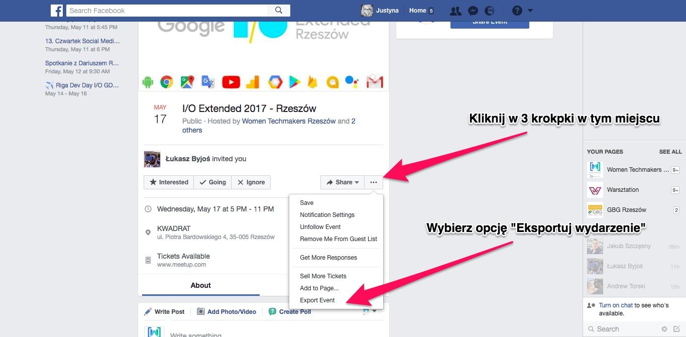 Geek Cat - Jak dodać wydarzenia z Facebooka do kalendarza Google - wyeksportuj wydarzenie