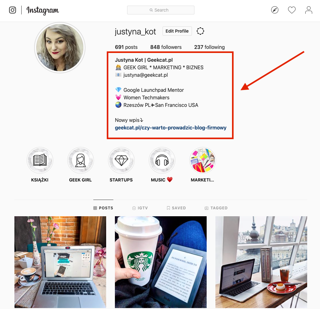 Geek Cat bio na Instagramie jak wygląda gdzie szukać bio