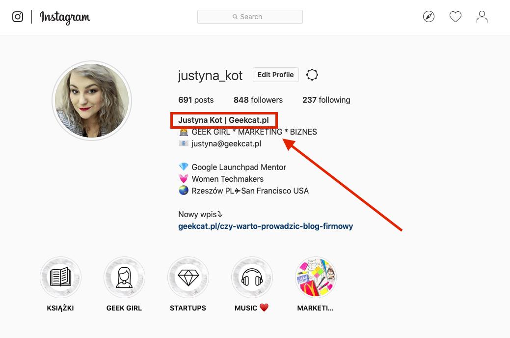 Geek Cat - bio na Instagramie nazwa konta  gdzie znaleźć nick