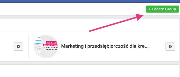 Geek Cat - jak założyć grupę na Facebooku - tworzenie grupy FB przycisk tworzenia grupy na fb