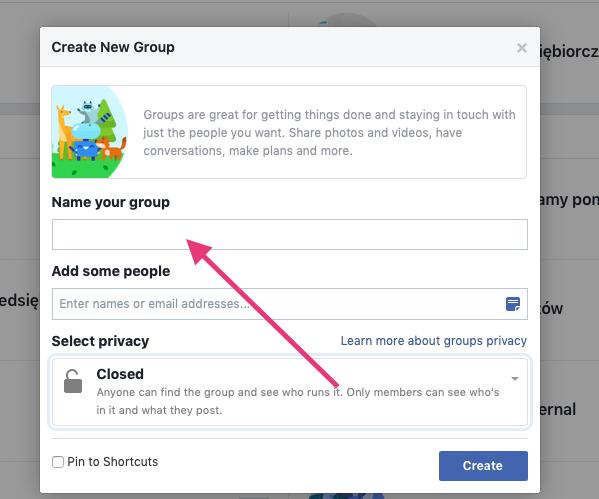 Geek Cat - jak założyć grupę na Facebooku - tworzenie grupy FB dodawanie nazwy grupy na fb
