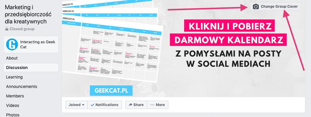 Geek Cat - jak założyć grupę na Facebooku - tworzenie grupy FB zmiana zdjęcia w tle