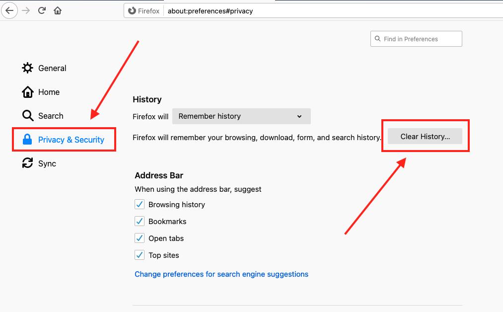 Historia wyszukiwania - Firefox 2
